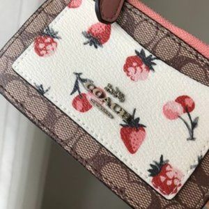 ❀Coach❀ Zip Top Card Case With Fruit Print